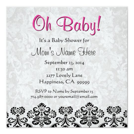 Cute Black White Pink Heart Damask Baby Shower Card