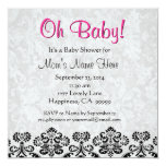 Cute Black White Pink Heart Damask Baby Shower Personalized Invite
