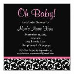 Cute Black White Pink Swirl Print Baby Shower Invitations