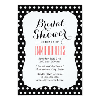 Cute Black & White Polka Dots Bridal Shower Card