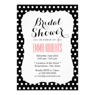 Cute Black & White Polka Dots Bridal Shower Card
