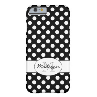 Cute Black White polka dots Monogram iPhone 6 Barely There iPhone 6 Case