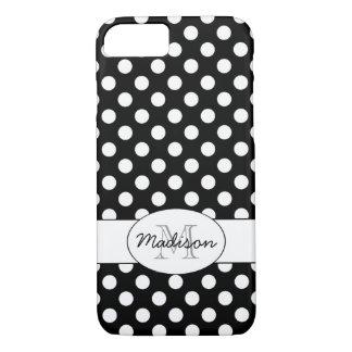 Cute Black White polka dots Monogram iPhone 7 iPhone 8/7 Case