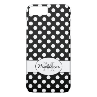 Cute Black White polka dots Monogram iPhone 7 Plus iPhone 8 Plus/7 Plus Case