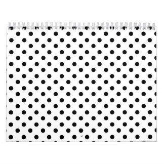 Cute Black White Polka Dots Pattern Calendar