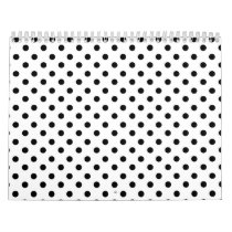 Cute Black White Polka Dots Pattern Calendar