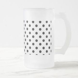 Cute Black White Polka Dots Pattern Frosted Glass Beer Mug