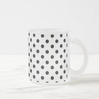 Cute Black White Polka Dots Pattern 10 Oz Frosted Glass Coffee Mug