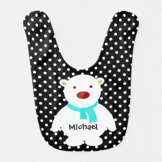 Cute Black/White Polka Dots, Polar Bear, Add name Baby Bib