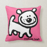CUTE black white puppy dog pillow pink/green
