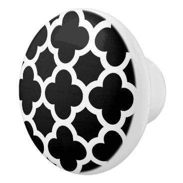 CozyLivin Cute Black White Retro Chic Trellis Pattern Ceramic Knob