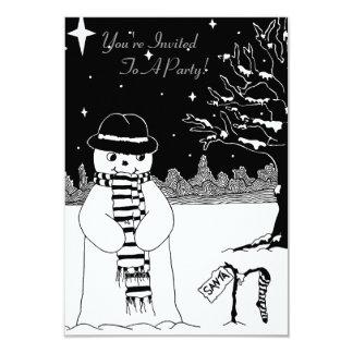 Cute black white snowman illustration christmas card