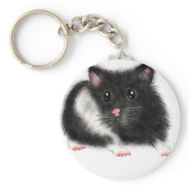 Cute Black white Syrian hamster gifts accessories Keychain