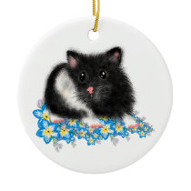 Cute Black white Syrian Hamster gifts Ceramic Ornament