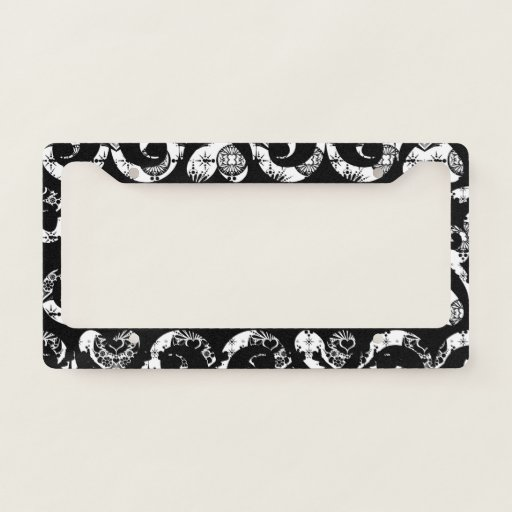 Cute black white vintage hearts background design license plate frame