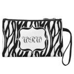 Cute Black/White Zebra Monogram Wristlet Purse