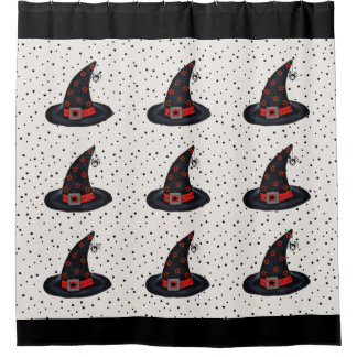 Cute Black Witch Hats Stars Dangling Spiders Shower Curtain