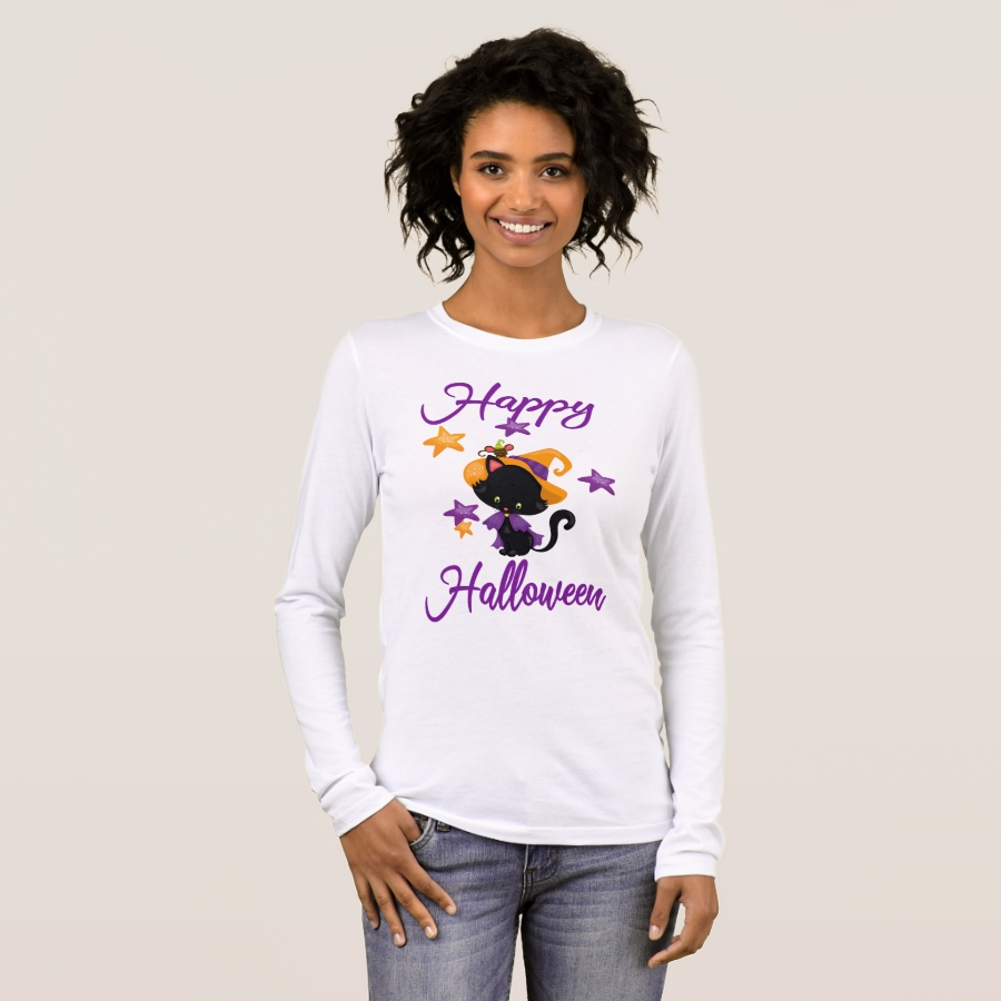 Cute Black Witch Kitty Cat Happy Halloween Party Long Sleeve T-Shirt - Best Selling Long-Sleeve Street Fashion Shirt Designs