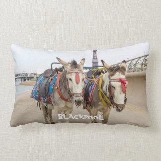 Cute Blackpool Beach Donkey Rides Lumbar Pillow