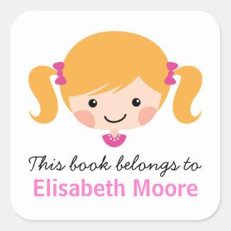 Cute blond cartoon girl personalised bookplate