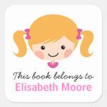 Cute blond cartoon girl personalised bookplate stickers