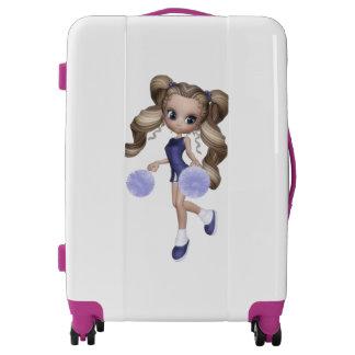 Cute Blond Cheerleader Girl Medium Sized Luggage