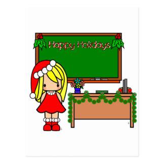 Cute Blond Christmas teacher Postcards