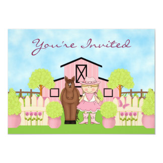 "Cute Blond Cowgirl and Horse Birthday Invitation 5"" X 7"" Invitation Card"