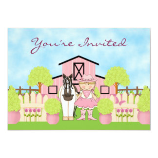 Cute Blond Cowgirl and Horse Birthday Invitation