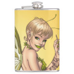 Cute Blond Fairy Drinking In The Sunshine Art Flasks