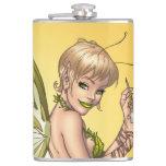 Cute Blond Fairy Drinking In The Sunshine Art Hip Flasks