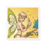 Cute Blond Fairy Drinking In The Sunshine Art Napkin