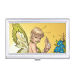 Cute Blond Fairy Drinking In The Sunshine Art Business Card Cases