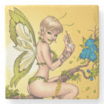 Cute Blond Fairy Drinking In The Sunshine Art Stone Coaster
