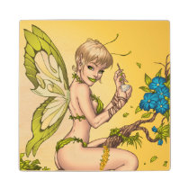 blond, elf, fairy, faerie, al rio, pinup, faeries, illustration, drawing, cute, jungle, [[missing key: type_mitercraft_woodencoaste]] com design gráfico personalizado