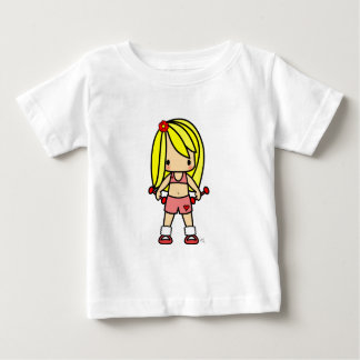 Cute blond girl ion exercise gear ready for workou baby T-Shirt