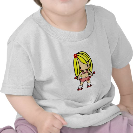 Cute blond girl ion exercise gear ready for workou shirt