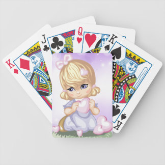 Cute Blond Girl Playing Cards
