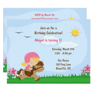 Cute Blond Girl Riding Brown Horse Birthday Invite