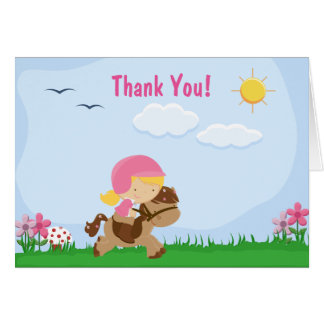 Cute Blond Girl Riding Brown Horse Thank You Card