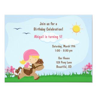 Cute Blond Girl Riding Horse Birthday Invitation