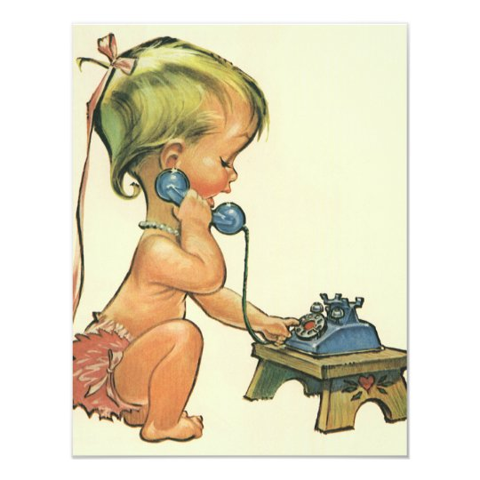 Cute Blond Girl Talking on Toy Phone Invitation