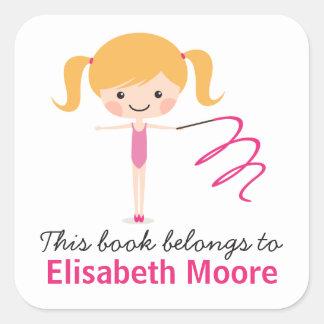 Cute blond gymnast girl cartoon bookplate book