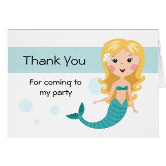 Cute blond mermaid cartoon girl Thank You Card