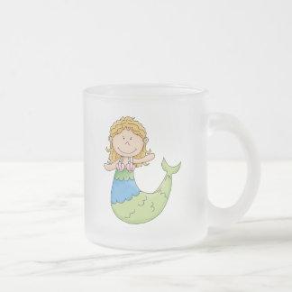 Cute Blond Mermaid Girl Fish Design Frosted Glass Coffee Mug