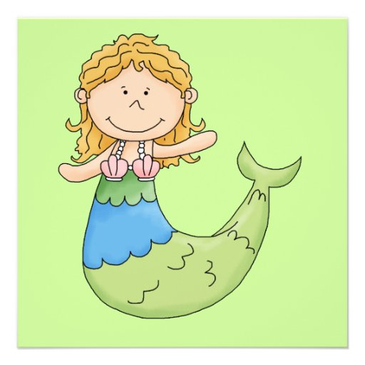 Cute Blond Mermaid Girl Fish Design Custom Invitations