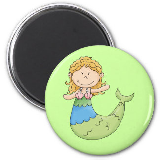 Cute Blond Mermaid Girl Fish Design Magnets