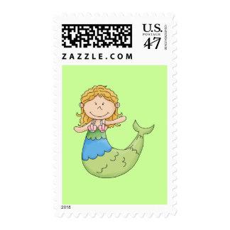 Cute Blond Mermaid Girl Fish Design Postage