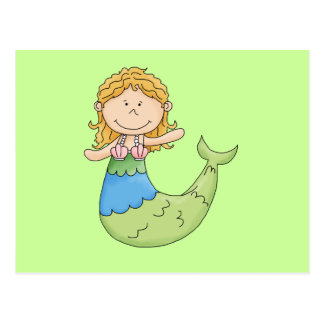 Cute Blond Mermaid Girl Fish Design Postcard