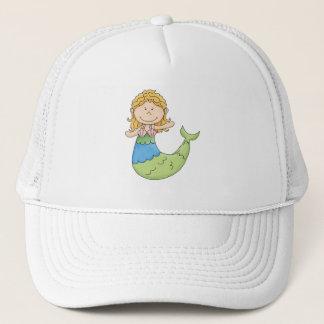 Cute Blond Mermaid Girl Fish Design Trucker Hat